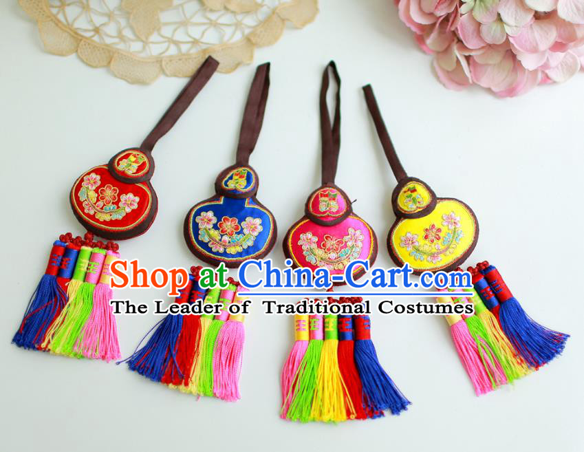 Asian Korean Hanbok Embroidered Calabash Waist Decorations, Korean National Belts Accessories Wedding Bride Waist Pendant for Women