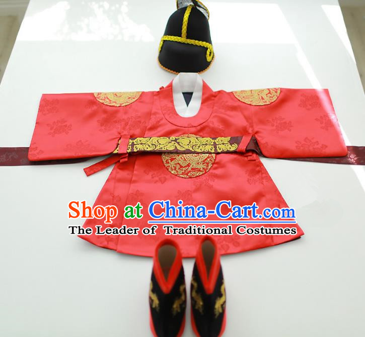 Asian Korean National Traditional Handmade Formal Occasions Boys Embroidery Red Robe Hanbok Costume for Kids