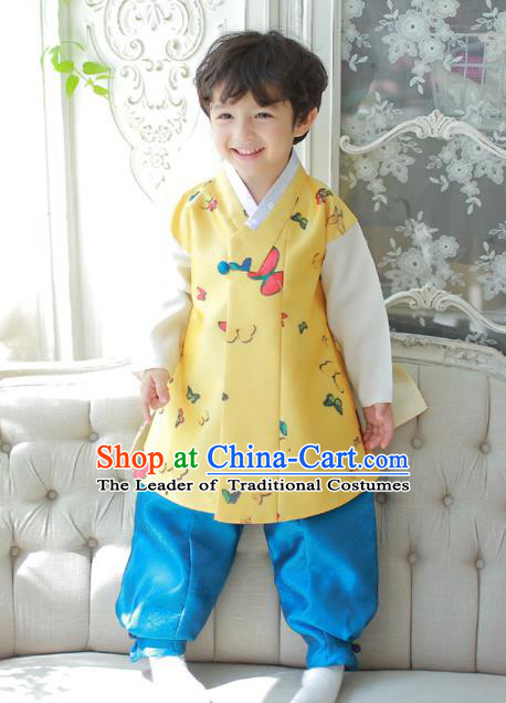 Asian Korean National Traditional Handmade Formal Occasions Boys Printing Butterfly Yellow Vest Hanbok Costume Complete Set for Kids