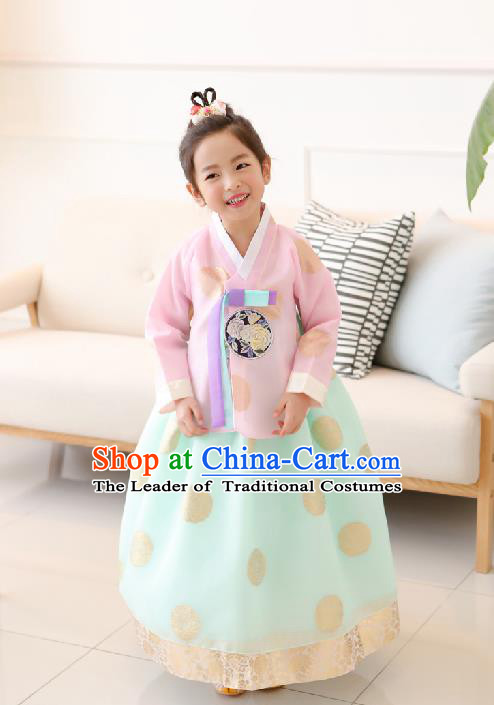 Traditional Korean National Handmade Formal Occasions Girls Clothing Palace Hanbok Costume Embroidered Pink Blouse and Green Dress for Kids