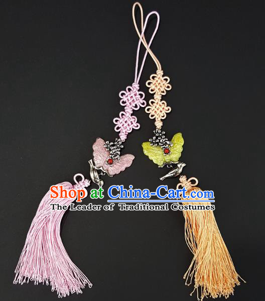 Asian Korean Hanbok Butterfly Tassel Chinese Knot Waist Decorations, Korean National Belts Accessories Wedding Bride Waist Pendant for Kids