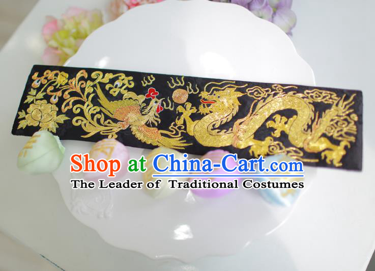 Traditional Korean Accessories Embroidered Golden Dragon and Phoenix Waist Belts, Asian Korean Fashion Waistband Decorations for Kids
