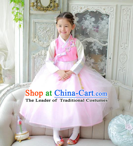 Traditional Korean National Handmade Formal Occasions Girls Clothing Palace Hanbok Costume Embroidered Pink Blouse and Veil Dress for Kids