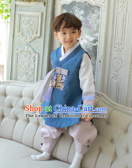 Asian Korean National Traditional Handmade Formal Occasions Boys Embroidery Deep Blue Vest Hanbok Costume Complete Set for Kids