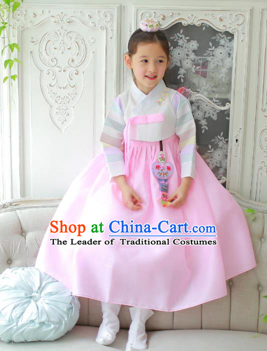 Traditional Korean National Handmade Formal Occasions Girls Clothing Palace Hanbok Costume Embroidered White Blouse and Pink Dress for Kids