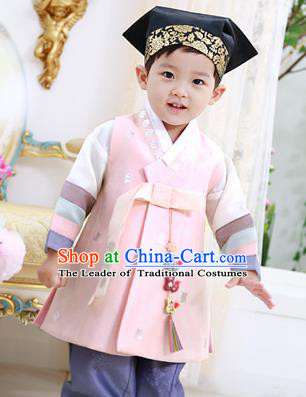 Traditional Asian Korean National Handmade Formal Occasions Boys Embroidery Pink Vest Hanbok Costume Complete Set for Kids