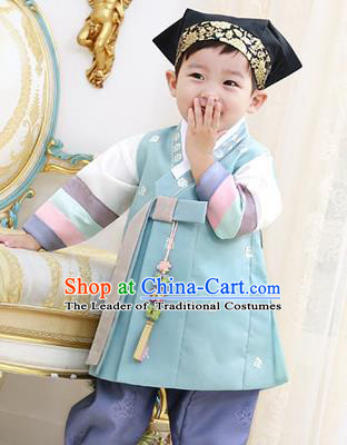 Traditional Asian Korean National Handmade Formal Occasions Boys Embroidery Green Vest Hanbok Costume Complete Set for Kids