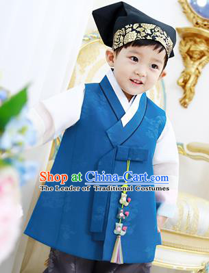 Traditional Asian Korean National Handmade Formal Occasions Boys Embroidery Blue Vest Hanbok Costume Complete Set for Kids