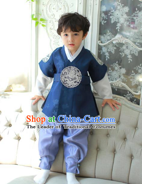 Asian Korean National Traditional Handmade Formal Occasions Boys Embroidery Clothing Deep Blue Vest Hanbok Costume Complete Set for Kids