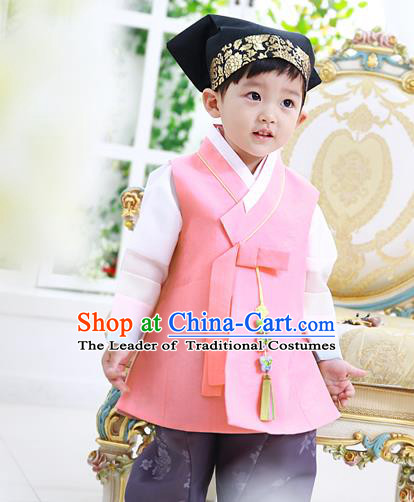 Asian Korean National Traditional Handmade Formal Occasions Boys Embroidery Clothing Pink Vest Hanbok Costume Complete Set for Kids