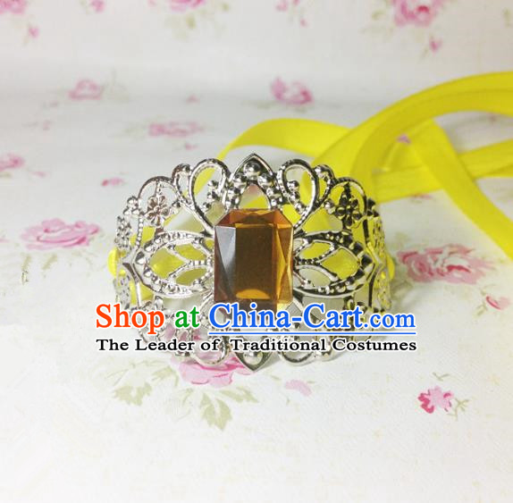 Traditional Handmade Chinese Ancient Classical Hair Accessories Royal Highness Yellow Crystal Tuinga Hairdo Crown for Men