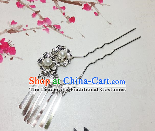 Traditional Chinese Ancient Classical Hair Accessories Silvery Hair Clip Bride Tassel Step Shake Hairpins for Women