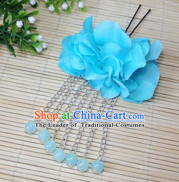 Traditional Chinese Ancient Classical Hair Accessories Blue Flowers Beads Tassel Step Shake Bride Hairpins for Women