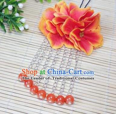Traditional Chinese Ancient Classical Hair Accessories Orange Flowers Beads Tassel Step Shake Bride Hairpins for Women