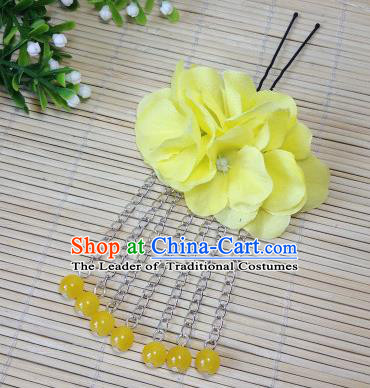 Traditional Chinese Ancient Classical Hair Accessories Yellow Flowers Beads Tassel Step Shake Bride Hairpins for Women