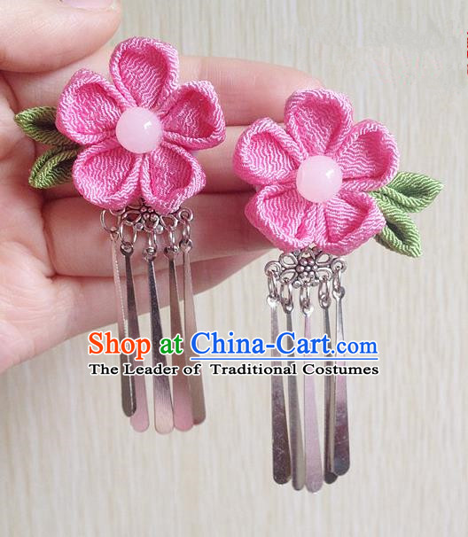 Traditional Chinese Ancient Classical Hair Accessories Pink Flower Tassel Step Shake Bride Hairpins for Women