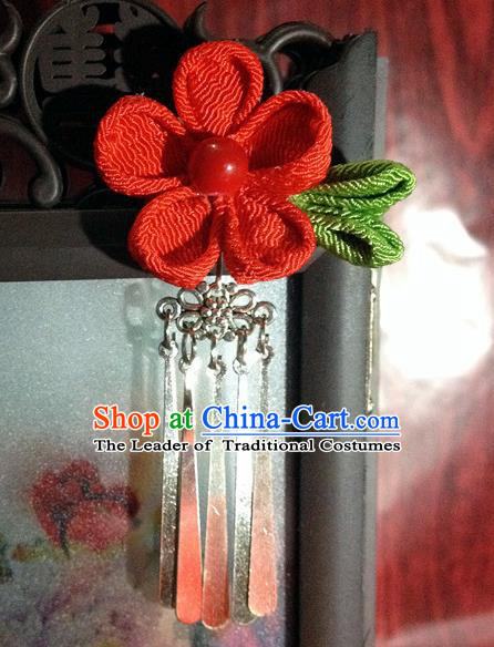 Traditional Chinese Ancient Classical Hair Accessories Red Flower Tassel Step Shake Bride Hairpins for Women