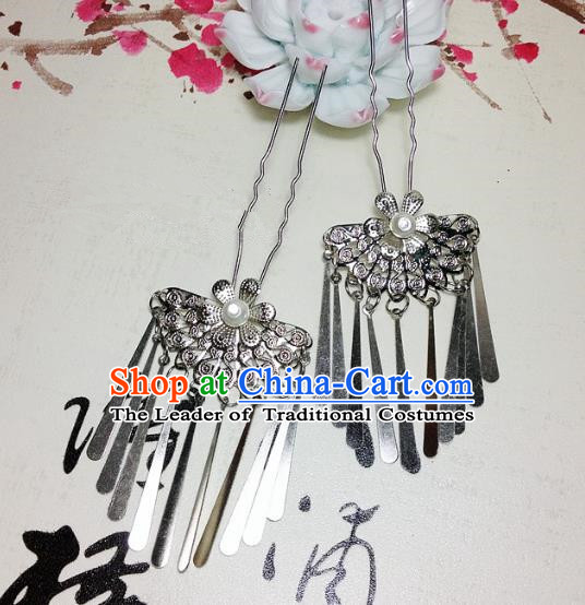 Traditional Chinese Ancient Classical Hair Accessories Bride Tassel Step Shake Hairpins for Women
