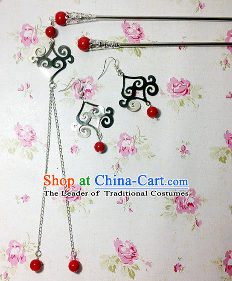 Traditional Handmade Chinese Ancient Classical Hair Accessories Bride Wedding Xiuhe Suit Red Beads Tassel Hairpins and Earrings for Women