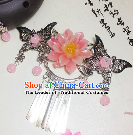 Traditional Chinese Ancient Classical Hair Accessories Princess Pink Flower Hair Comb Tassel Step Shake Hairpins for Women