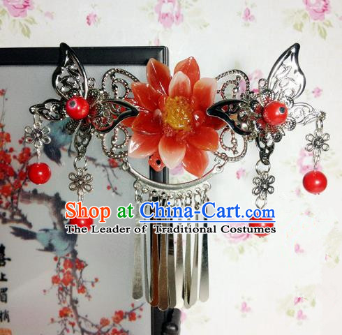Traditional Chinese Ancient Classical Hair Accessories Princess Red Flower Hair Comb Tassel Step Shake Hairpins for Women