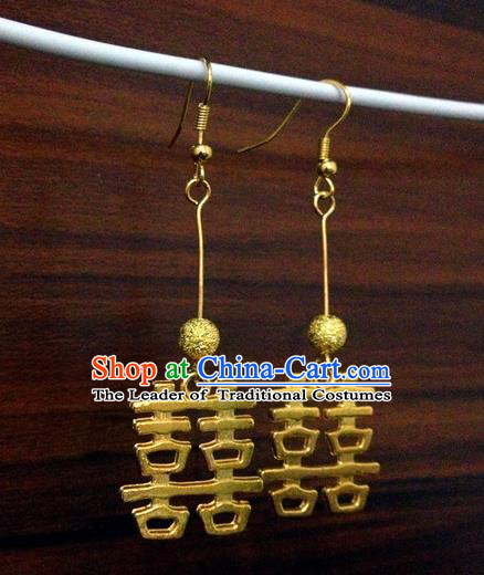 Traditional Handmade Chinese Ancient Classical Accessories Bride Wedding Xiuhe Suit Golden Earrings for Women