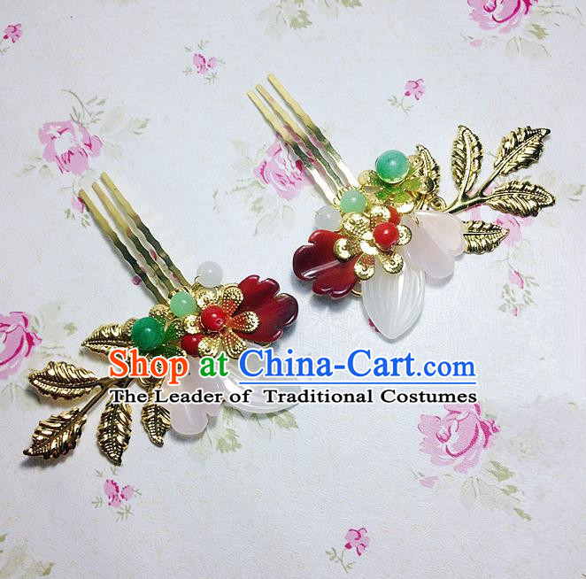 Traditional Chinese Ancient Classical Hair Accessories Hanfu Golden Leaf Hair Comb Step Shake Bride Hairpins for Women