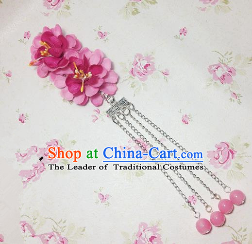 Traditional Chinese Ancient Classical Hair Accessories Hanfu Rosy Flowers Tassel Step Shake Bride Hairpins for Women