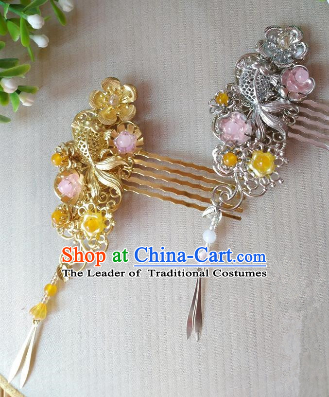 Traditional Chinese Ancient Classical Hair Accessories Hanfu Hair Comb Tassel Step Shake Hairpins for Women