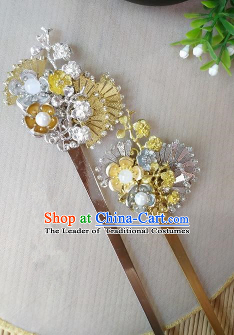 Traditional Chinese Ancient Classical Hair Accessories Hanfu Wintersweet Hair Stick Step Shake Hairpins for Women