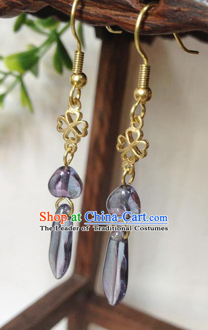 Traditional Handmade Chinese Ancient Classical Accessories Bride Hanfu Tassel Earrings for Women