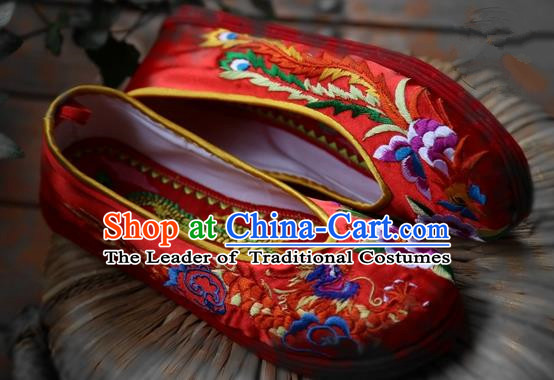 Asian Chinese Ancient Shoes Wedding Shoes Red Embroidered Shoes, Traditional China Peking Opera Shoes Hanfu Shoes for Women