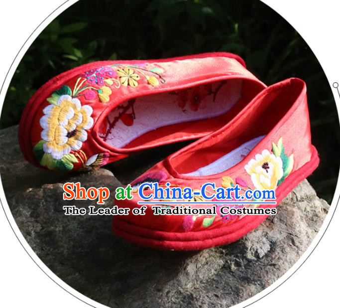 Asian Chinese Traditional Shoes Bride Xiuhe Suit Blue Embroidered Shoes, China Peking Opera Handmade Strong Cloth Soles Embroidery Shoe Hanfu Princess Shoes for Women