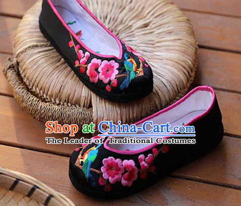 Asian Chinese Traditional Shoes Wedding Black Embroidered Shoes, China Peking Opera Hand Embroidery Wintersweet Shoe Hanfu Princess Shoes for Women