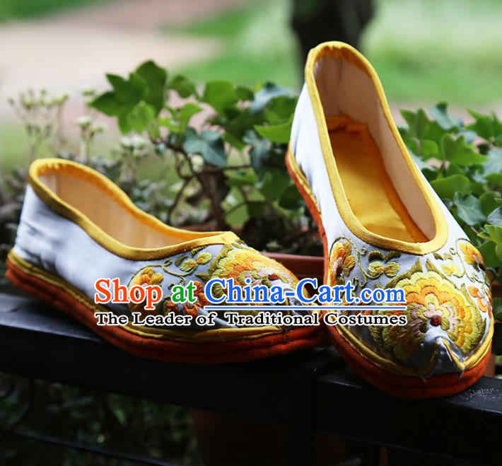 Asian Chinese Traditional Shoes Embroidered Shoes, China Peking Opera Handmade Embroidery Shoe Hanfu Princess Shoes for Women