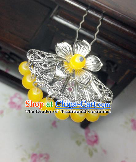 Traditional Chinese Ancient Classical Hair Accessories Hanfu Yellow Beads Tassel Hair Clip Bride Hairpins for Women