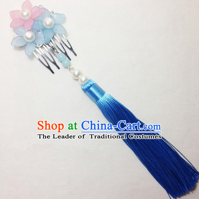 Traditional Chinese Ancient Classical Hair Accessories Hanfu Cheongsam Hair Comb Bride Blue Tassel Hairpins for Women