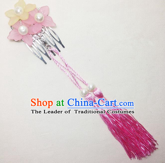Traditional Chinese Ancient Classical Hair Accessories Hanfu Cheongsam Hair Comb Bride Pink Tassel Hairpins for Women