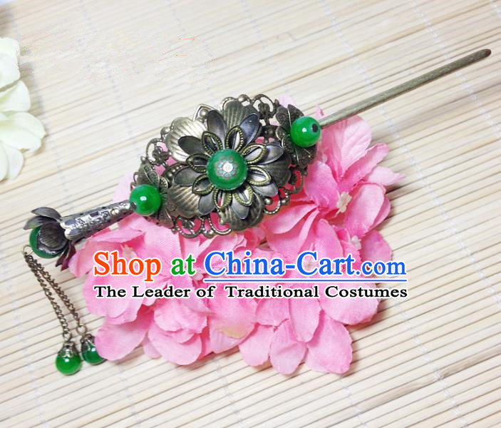 Traditional Chinese Ancient Classical Hair Accessories Hanfu Hairdo Crown Tassel Hairpins for Women