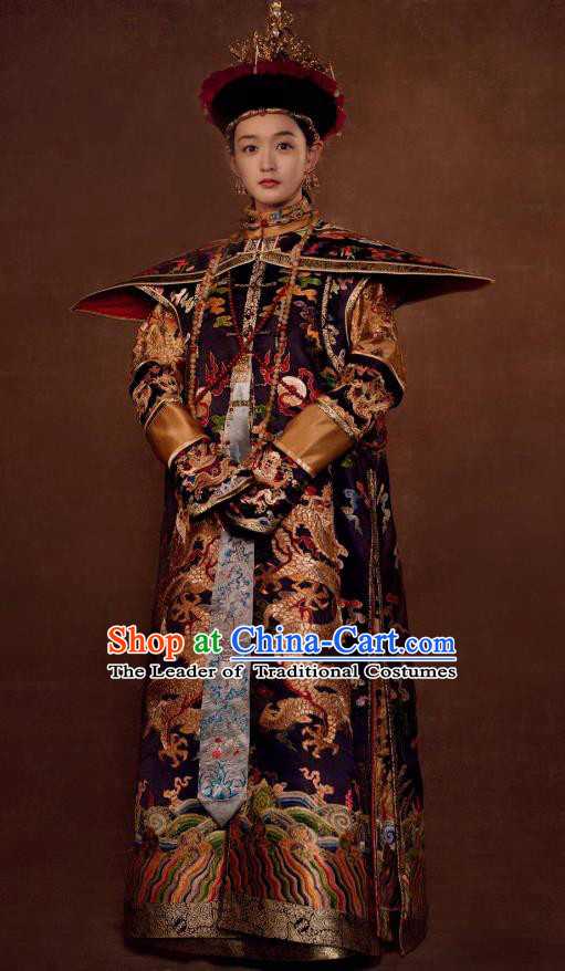 Traditional Ancient Chinese Qing Dynasty Palace Lady Court Dress Manchu Empress Embroidered Costume and Headpiece Complete Set