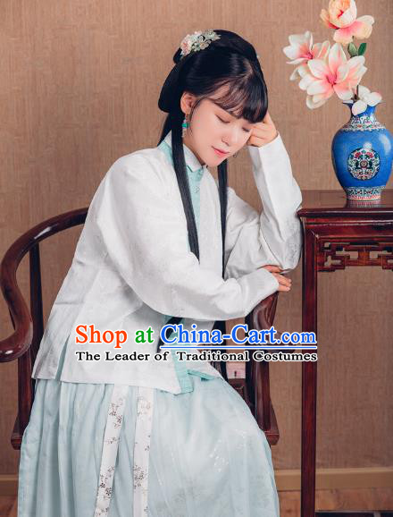 Asian China Ming Dynasty Princess Costume, Traditional Ancient Chinese Palace Lady Embroidered Hanfu Blouse Clothing for Women