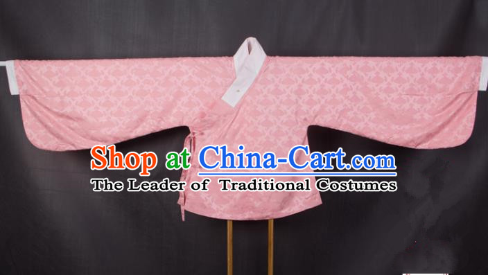 Asian China Ming Dynasty Princess Costume, Traditional Ancient Chinese Palace Lady Embroidered Hanfu Pink Blouse Clothing for Women