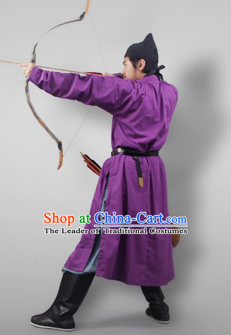 Asian China Tang Dynasty Swordsman Costume Purple Robe, Traditional Ancient Chinese Imperial Bodyguard Clothing for Men