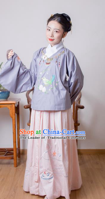 Asian China Ming Dynasty Princess Costume Purple Blouse and Pink Skirt, Traditional Ancient Chinese Palace Lady Embroidered Hanfu Clothing for Women