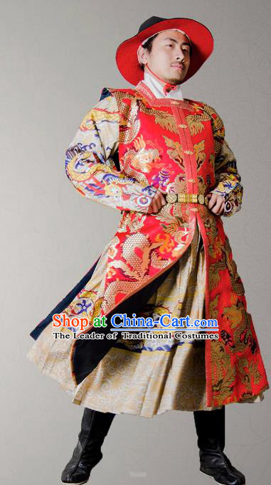 Asian China Ming Dynasty Swordsman Costume Red Brocade Vest, Traditional Ancient Chinese Imperial Emperor Waistcoat Clothing for Men