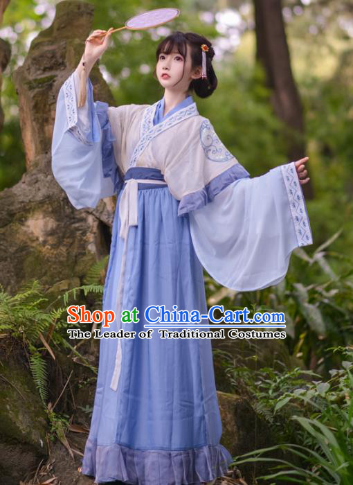 Asian China Jin Dynasty Young Lady Costume, Traditional Ancient Chinese Princess Hanfu Embroidered Clothing for Women