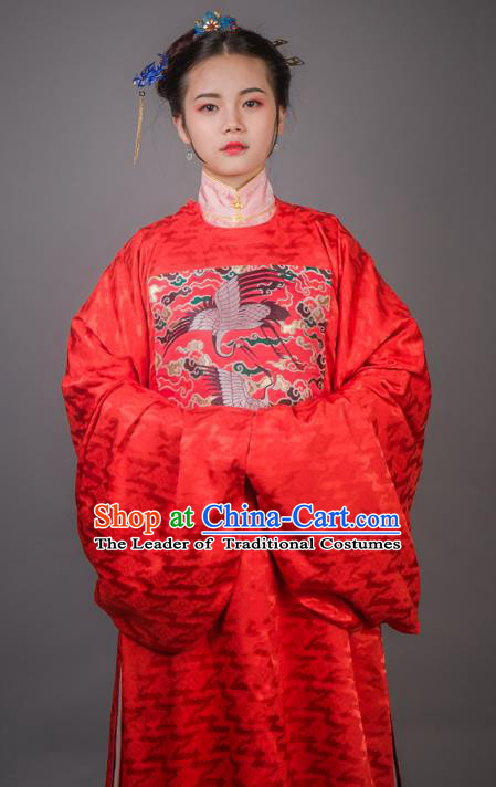 Asian China Ming Dynasty Princess Wedding Costume Red Robe, Traditional Ancient Chinese Palace Lady Embroidered Hanfu Clothing for Women