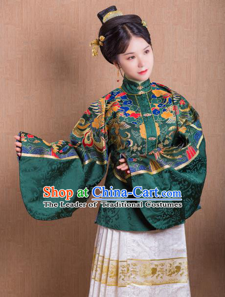 Asian China Ming Dynasty Princess Costume Green Blouse, Traditional Ancient Chinese Palace Lady Embroidered Hanfu Shirts Clothing for Women