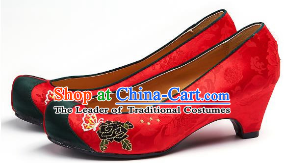Traditional Korean National Embroidered Shoes, Asian Korean Hanbok Pink Wedding Shoes for Women