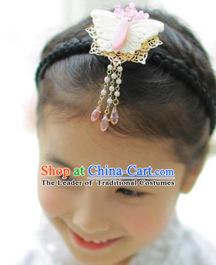 Traditional Korean Hair Accessories, Asian Korean Fashion Headwear Butterfly Tassel Hair Clasp for Kids